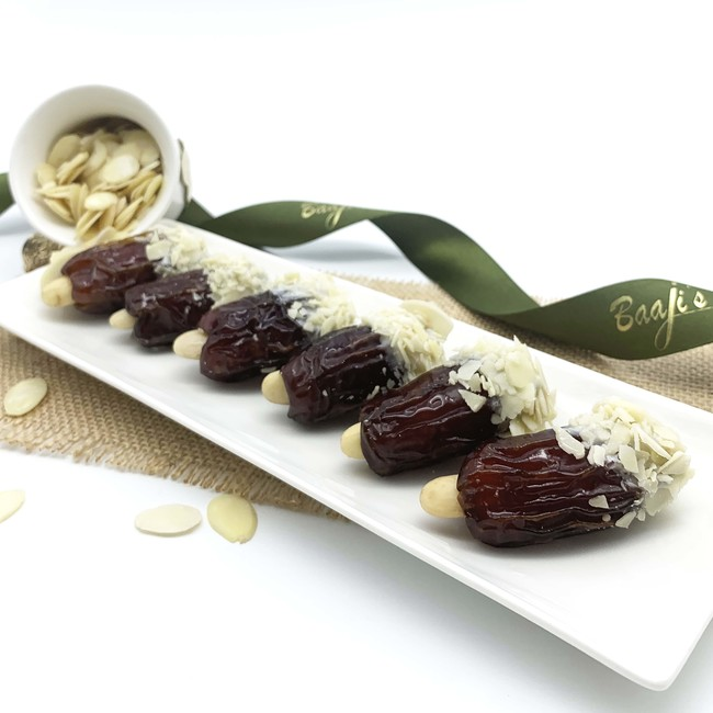 Chocolate Coated Stuffed Dates with Almond